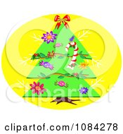 Christmas Tree On A Yellow Circle