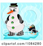 Snowman Walking A Penguin Over Blue