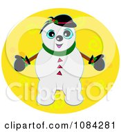 Snowman On A Yellow Circle