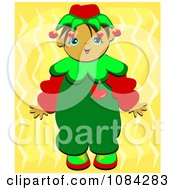 Christmas Elf Boy Over Yellow
