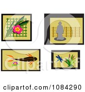 Clipart Asian Flowers Koi Dragonfly And Statue Royalty Free Vector Illustration