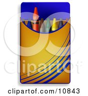 Box Of Colorful Crayons For School Clipart Illustration