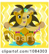 Clipart Cute Lion Holding A Bone Necklace Royalty Free Vector Illustration by bpearth