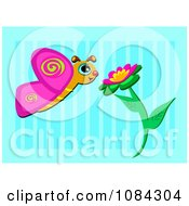 Butterfly With A Pink Flower Over Blue