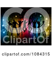 Clipart Silhouetted Dance Team Against Colorful Lights And Stars Royalty Free Vector Illustration
