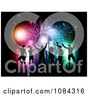 Clipart Silhouetted Dance Team Against A Grungy Colorful Burst On Black Royalty Free Vector Illustration