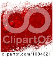Clipart Red Grungy Christmas Bauble And Snow Background Royalty Free Vector Illustration