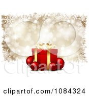 Clipart 3d Gift Box With Baubles Over Gold Snowflakes Royalty Free Vector Illustration