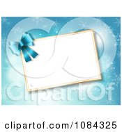 Clipart 3d Blue Bow And Christmas Tag Over Snowflakes Royalty Free Vector Illustration by KJ Pargeter