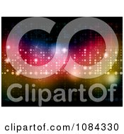 Clipart Background Of Colorful Glittery Lights And Stars Royalty Free Vector Illustration
