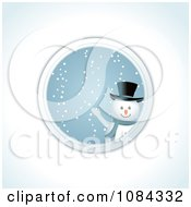 Clipart Snowman Waving Through A Round Window Royalty Free Vector Illustration by elaineitalia