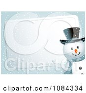 Clipart Snowman Presenting A Silver Christmas Label In The Snow Royalty Free Vector Illustration by elaineitalia