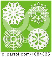 3d White Paper Snowflakes On Green