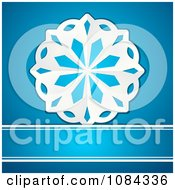 3d White Paper Snowflake On Blue