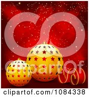 Clipart Golden 3d Christmas Baubles And A Streamer Over Red Stars Royalty Free Vector Illustration