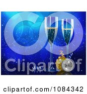 Clipart Christmas Champagne And Baubles Over Blue Bubbles Royalty Free Vector Illustration