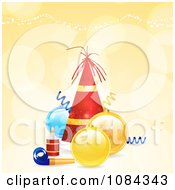 Clipart 3d Christmas Party Hat With Baubles And A Noise Maker On Orange Royalty Free Vector Illustration