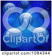 Clipart 3d Blue Glass Lottery Or Bingo Balls On Blue Royalty Free Vector Illustration