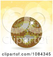 Clipart 3d Gold Disco Ball Over Yellow Flares Royalty Free Vector Illustration