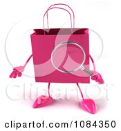 Clipart 3d Pink Shopping Bag Searching Royalty Free CGI Illustration