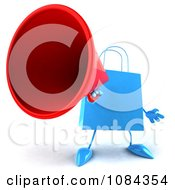 Clipart 3d Blue Shopping Bag Announcing Royalty Free CGI Illustration