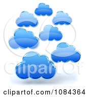 Clipart 3d Blue Floating Clouds Royalty Free CGI Illustration