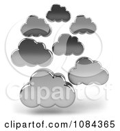 Clipart 3d Chrome Clouds Royalty Free CGI Illustration