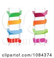 Clipart Colorful Origami Paper Banners On Columns Royalty Free Vector Illustration