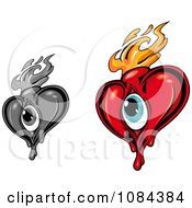 Clipart Eyed Hearts With Flames 2 Royalty Free Vector Illustration