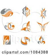 Clipart Gray And Orange Butterfly And Swirl Logos Royalty Free Vector Illustration by Vector Tradition SM
