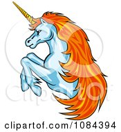 Clipart Orange Haired Rearing Unicorn Royalty Free Vector Illustration