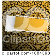Clipart Torn Paper Revealing Solid Yellow Royalty Free Vector Illustration