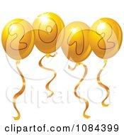 Clipart Golden 2012 New Year Party Balloons Royalty Free Vector Illustration