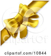 Gift Present Wrapped With A Yellow Bow And Ribbon Clipart Illustration