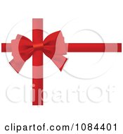 Clipart Red Bow And Gift Wrapping Ribbons Over White Royalty Free Vector Illustration