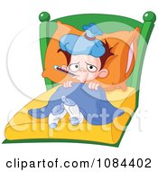 Clipart Sick Boy With A Fever Laying In Bed Royalty Free Vector Illustration