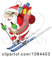 Santa Skiing Downhill With His Sack Of Gifts