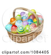 Clipart 3d Painted Easter Eggs And A Wicker Basket Royalty Free Vector Illustration