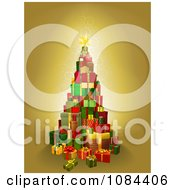Clipart Christmas Tree Of 3d Gift Boxes On Gold Royalty Free Vector Illustration