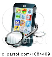 Clipart 3d Stethoscope And Smart Phone Royalty Free Vector Illustration