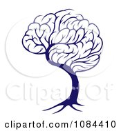 Clipart Blue Brain Tree Royalty Free Vector Illustration