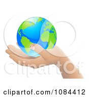 3d Hand Holding Earth Featuring The Atlantic