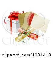 Clipart 3d Christmas Party Invitation With Crackers Baubles And A Gift Royalty Free Vector Illustration