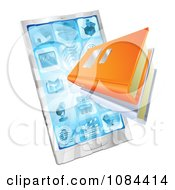 Clipart 3d Ebooks Emerging From A Smart Phone Royalty Free Vector Illustration