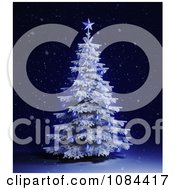 Clipart 3d Flocked Christmas Tree With Blue Ornaments Royalty Free CGI Illustration