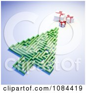 Clipart 3d Christmas Tree Maze And Presents On A Blue Background Royalty Free CGI Illustration by Mopic