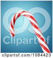 3d Peppermint Candy Cane Over Blue