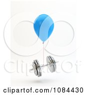Clipart 3d Blue Balloon And A Floating Dumbbell Royalty Free CGI Illustration