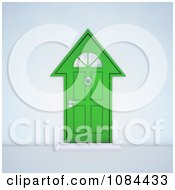 Clipart 3d Green House Shaped Door Royalty Free CGI Illustration by Mopic