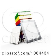 Clipart 3d Tablet With A Stack Of Books Royalty Free CGI Illustration by Mopic